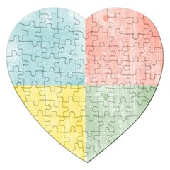 Pastel Textured Squares Jigsaw Puzzle (heart)
