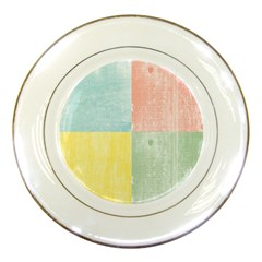 Pastel Textured Squares Porcelain Display Plate