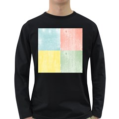 Pastel Textured Squares Men s Long Sleeve T-shirt (Dark Colored)