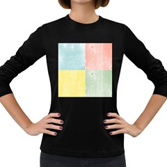 Pastel Textured Squares Women s Long Sleeve T Shirt (dark Colored)
