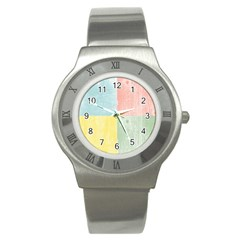 Pastel Textured Squares Stainless Steel Watch (Slim)