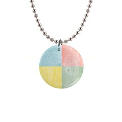 Pastel Textured Squares Button Necklace
