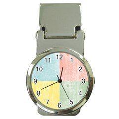 Pastel Textured Squares Money Clip with Watch