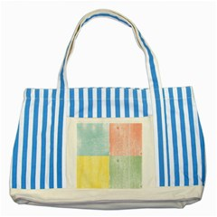 Pastel Textured Squares Blue Striped Tote Bag