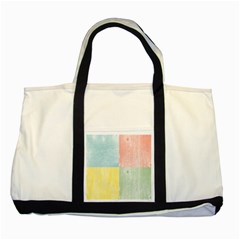 Pastel Textured Squares Two Toned Tote Bag