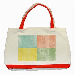 Pastel Textured Squares Classic Tote Bag (Red)