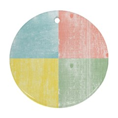 Pastel Textured Squares Round Ornament (Two Sides)