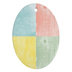 Pastel Textured Squares Oval Ornament (Two Sides)