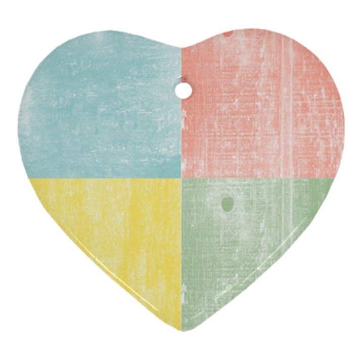 Pastel Textured Squares Heart Ornament (Two Sides)