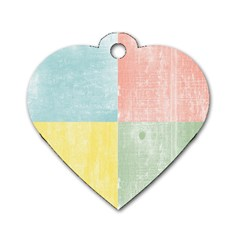 Pastel Textured Squares Dog Tag Heart (two Sided)