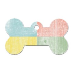 Pastel Textured Squares Dog Tag Bone (two Sided)