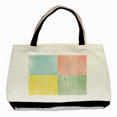 Pastel Textured Squares Twin-sided Black Tote Bag