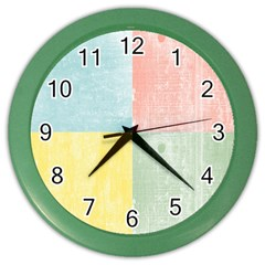 Pastel Textured Squares Wall Clock (Color)