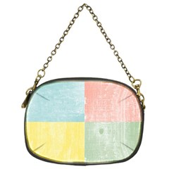 Pastel Textured Squares Chain Purse (One Side)