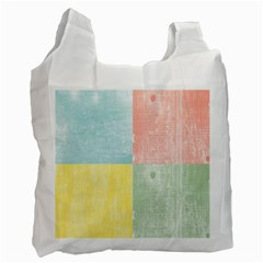 Pastel Textured Squares White Reusable Bag (One Side)