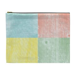 Pastel Textured Squares Cosmetic Bag (XL)