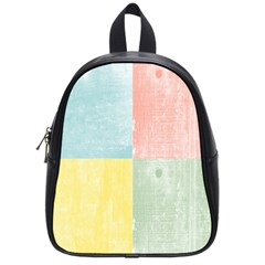 Pastel Textured Squares School Bag (Small)