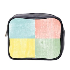 Pastel Textured Squares Mini Travel Toiletry Bag (two Sides)