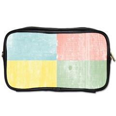 Pastel Textured Squares Travel Toiletry Bag (one Side)