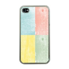 Pastel Textured Squares Apple Iphone 4 Case (clear)