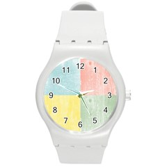 Pastel Textured Squares Plastic Sport Watch (medium)