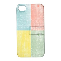 Pastel Textured Squares Apple Iphone 4/4s Hardshell Case With Stand