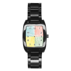 Pastel Textured Squares Stainless Steel Barrel Watch