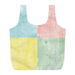 Pastel Textured Squares Reusable Bag (L)
