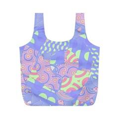 Girls Bright Pastel Summer Design Blue Pink Green Full Print Recycle Bag (M)