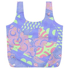 Girls Bright Pastel Summer Design Blue Pink Green Full Print Recycle Bag (XL)