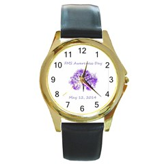 FMS Awareness 2014 Round Leather Watch (Gold Rim)