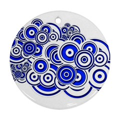 Trippy Blue Swirls Round Ornament