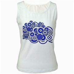 Trippy Blue Swirls Women s Tank Top (white)