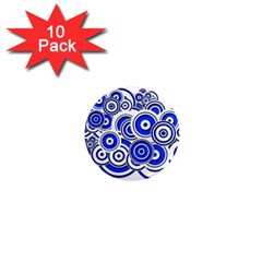 Trippy Blue Swirls 1  Mini Button Magnet (10 pack)