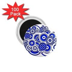 Trippy Blue Swirls 1.75  Button Magnet (100 pack)