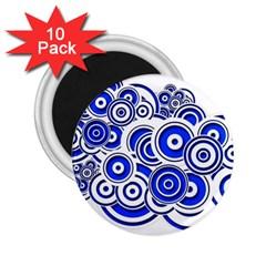 Trippy Blue Swirls 2.25  Button Magnet (10 pack)