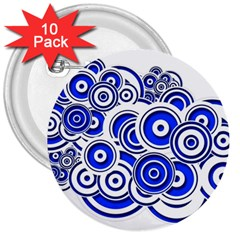Trippy Blue Swirls 3  Button (10 pack)