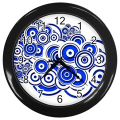 Trippy Blue Swirls Wall Clock (Black)