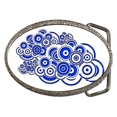Trippy Blue Swirls Belt Buckle (Oval)