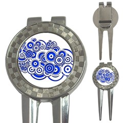 Trippy Blue Swirls Golf Pitchfork & Ball Marker