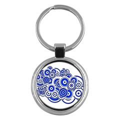 Trippy Blue Swirls Key Chain (round)