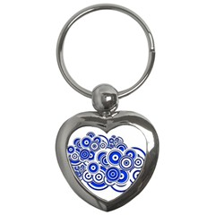 Trippy Blue Swirls Key Chain (Heart)