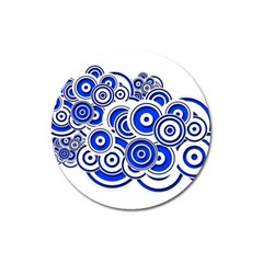 Trippy Blue Swirls Magnet 3  (Round)