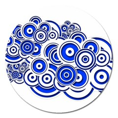 Trippy Blue Swirls Magnet 5  (Round)