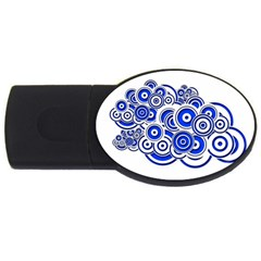 Trippy Blue Swirls 1GB USB Flash Drive (Oval)