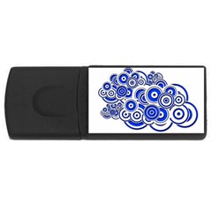 Trippy Blue Swirls 2GB USB Flash Drive (Rectangle)