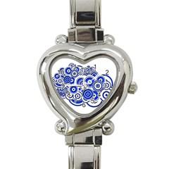 Trippy Blue Swirls Heart Italian Charm Watch