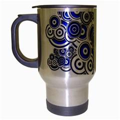 Trippy Blue Swirls Travel Mug (Silver Gray)