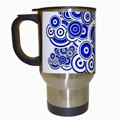 Trippy Blue Swirls Travel Mug (White)