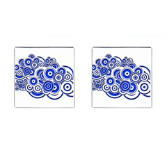 Trippy Blue Swirls Cufflinks (Square)
